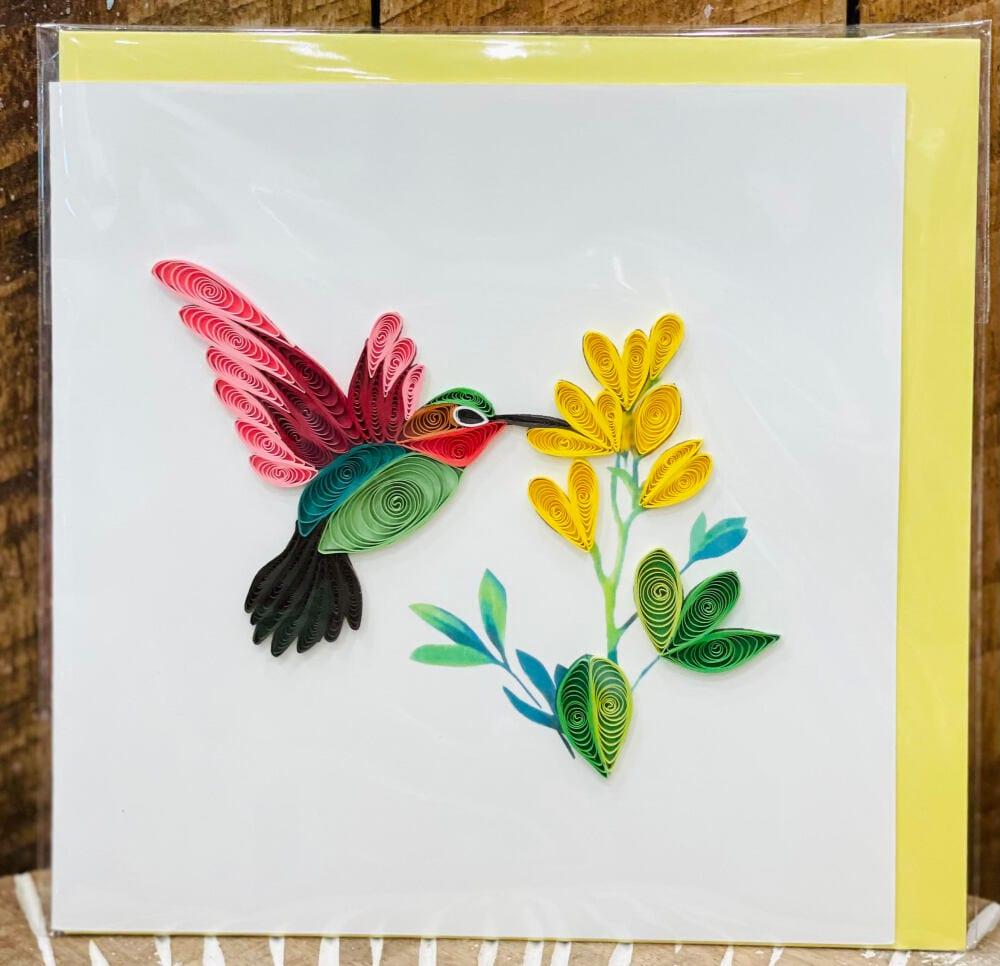 Handmade quilling card - Hummingbird