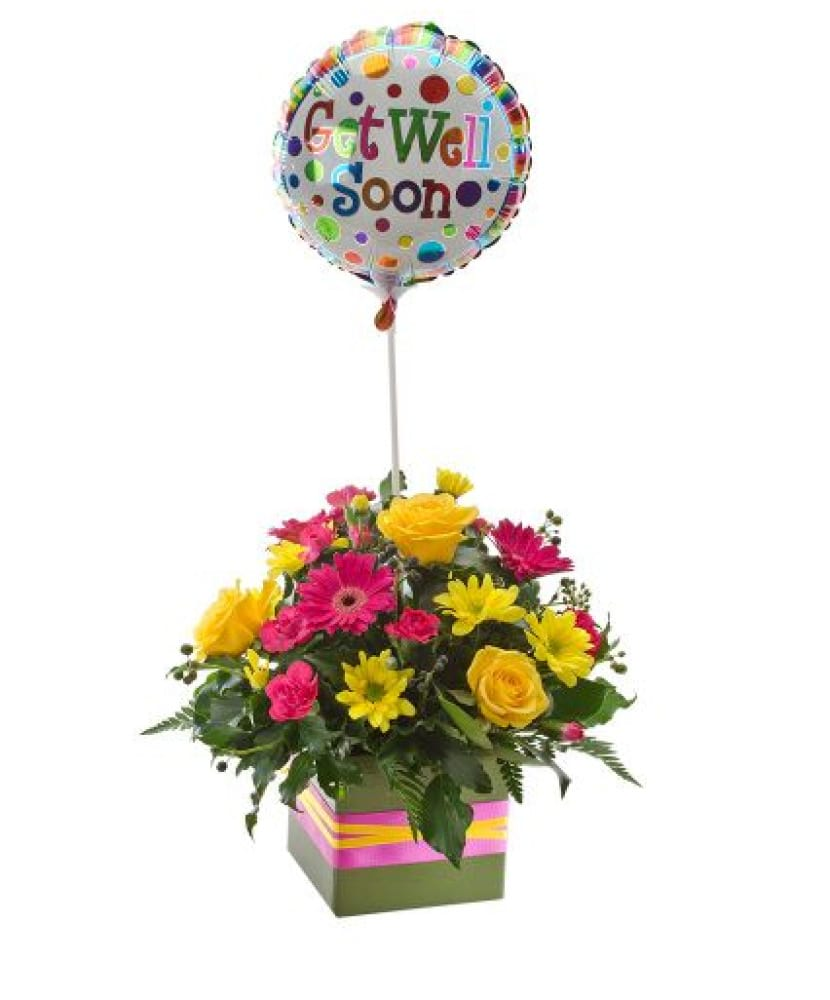 Get well soon flower and balloon