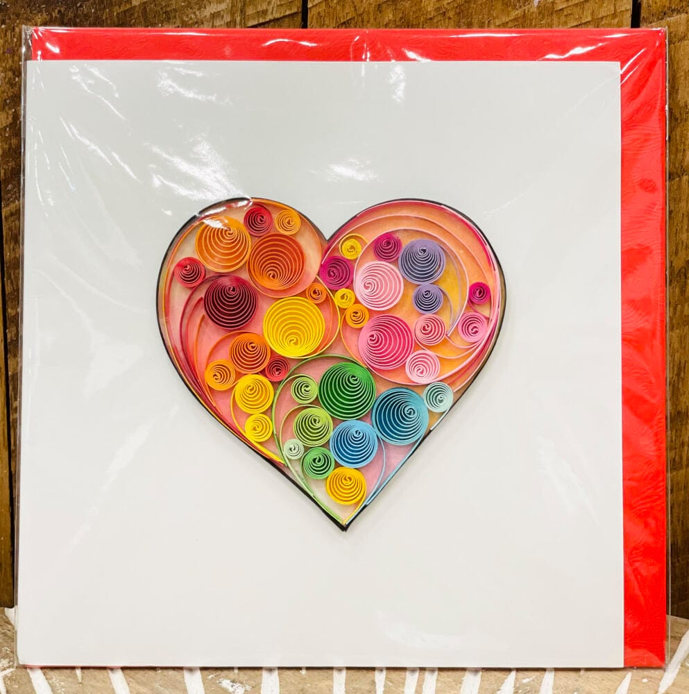 Handmade quilling card - Rainbow heart