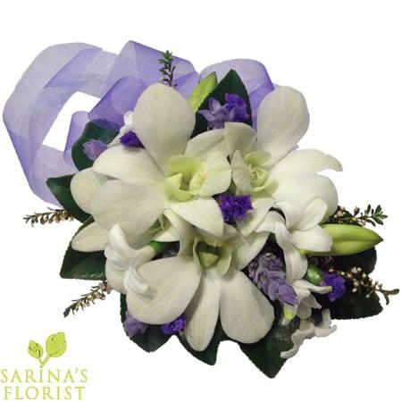 Wrist Corsage - Purple & white