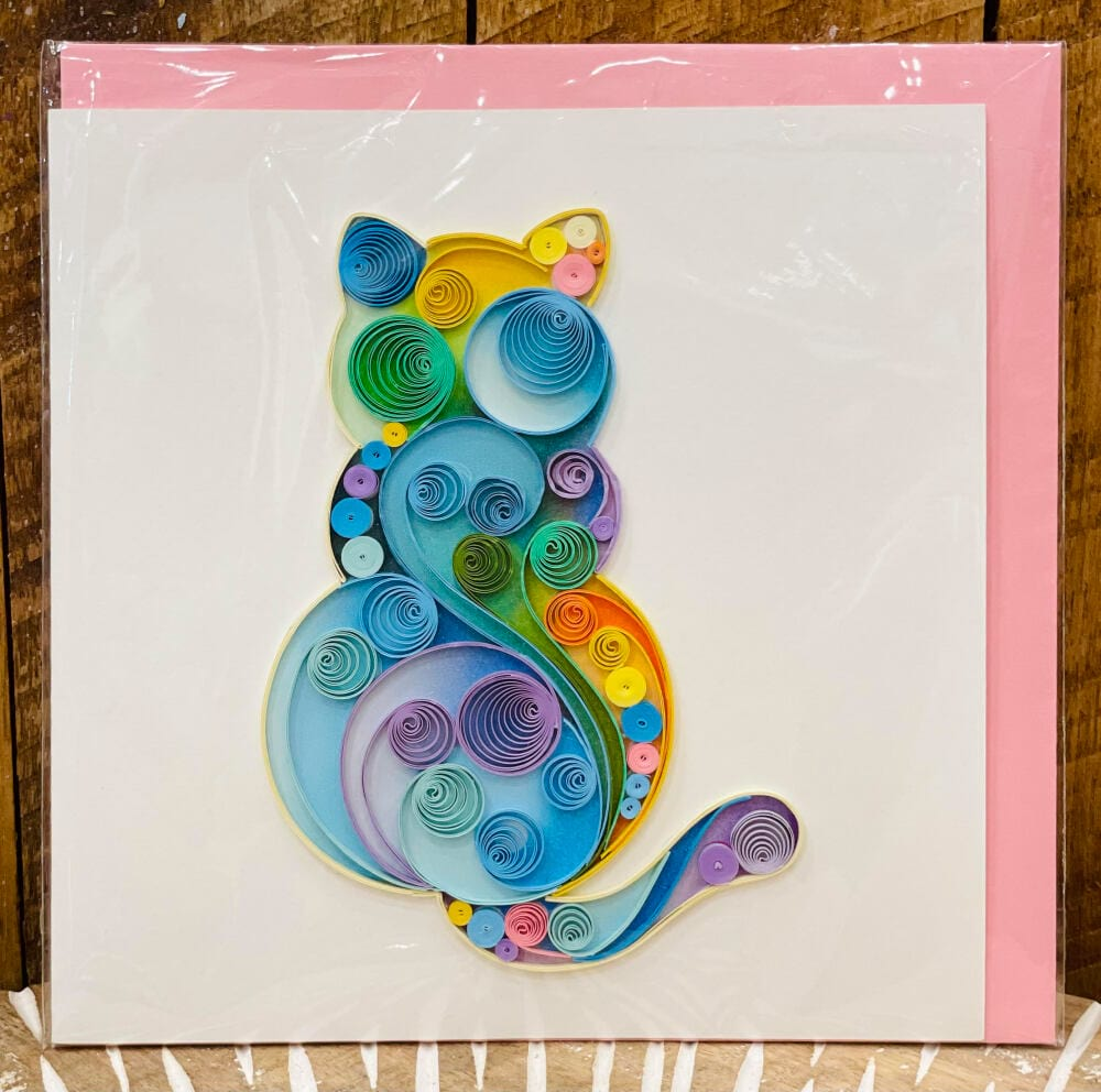 Handmade quilling card - Rainbow cat