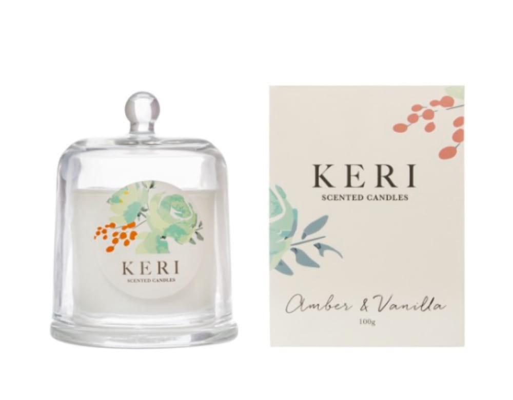 KERI Scented Cloche Candle - Amber & Vanilla