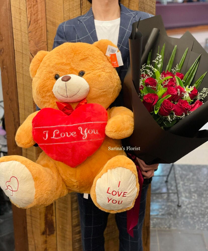 12 Medium stem Columbian Red Roses Bouquet with a teddy bear