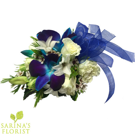 Wrist corsage - white with touch blue