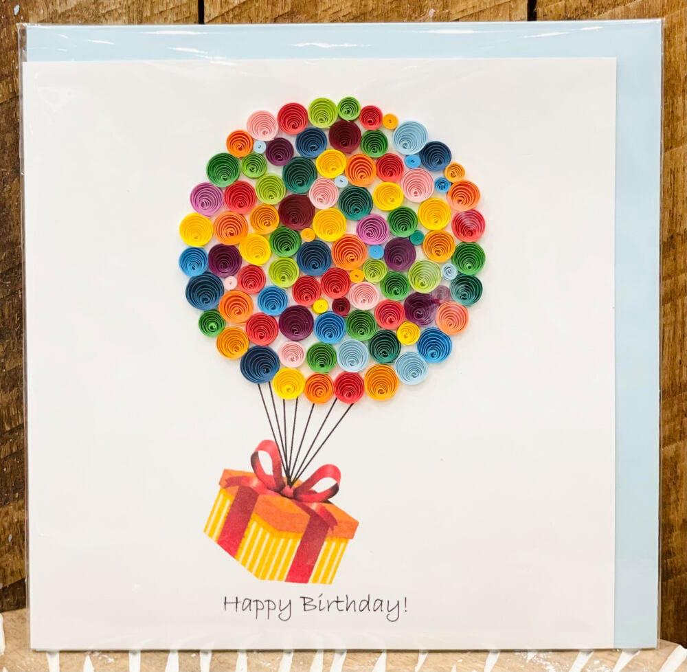 Handmade quilling card - Happy Birthday Hot air ballon