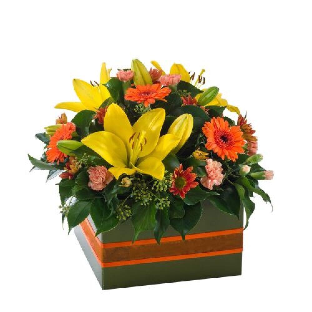 Dazzling bright yellow and orange box Arrangement