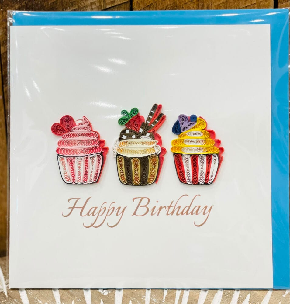 Handmade quilling card - Happy Birthday cupcakes