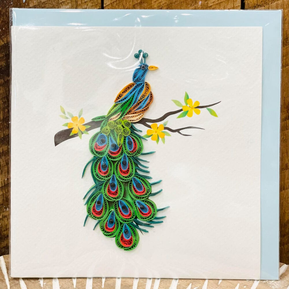 Handmade quilling card - Peafowl