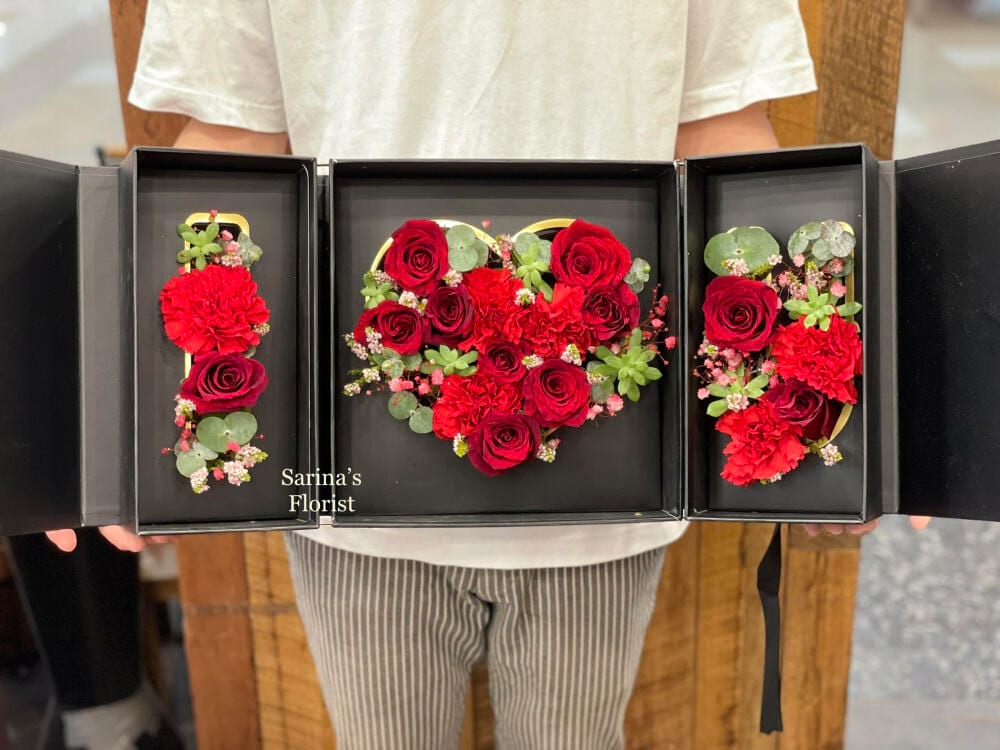 Foldable I LOVE U red rose box