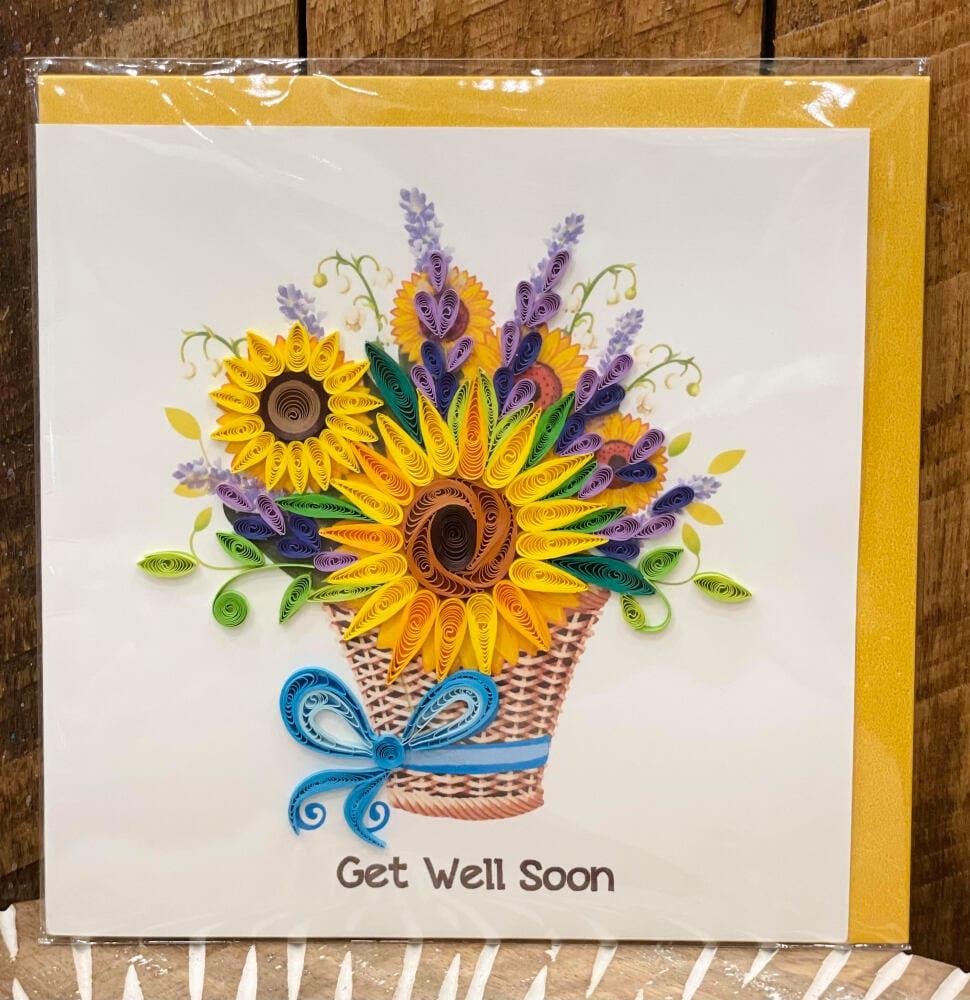 Handmade quilling card - Get well