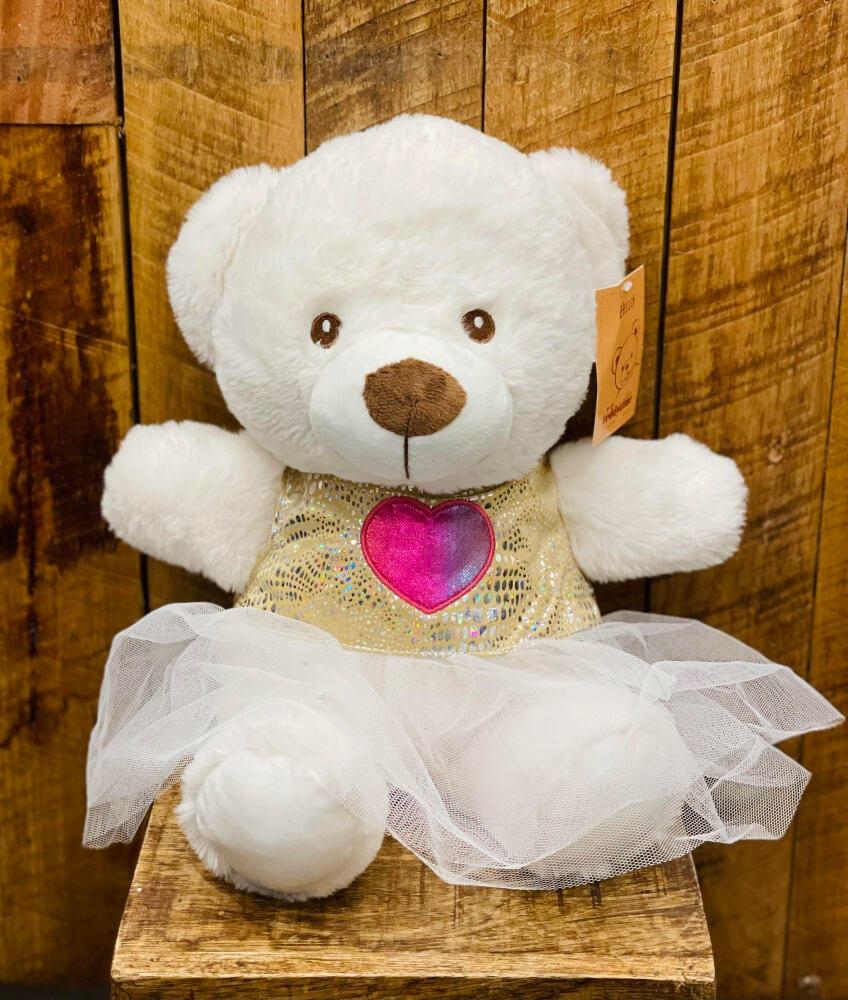 White teddy with dress