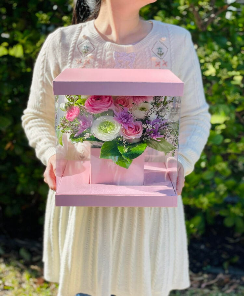 Seasonal greeting gift box in pastel colors