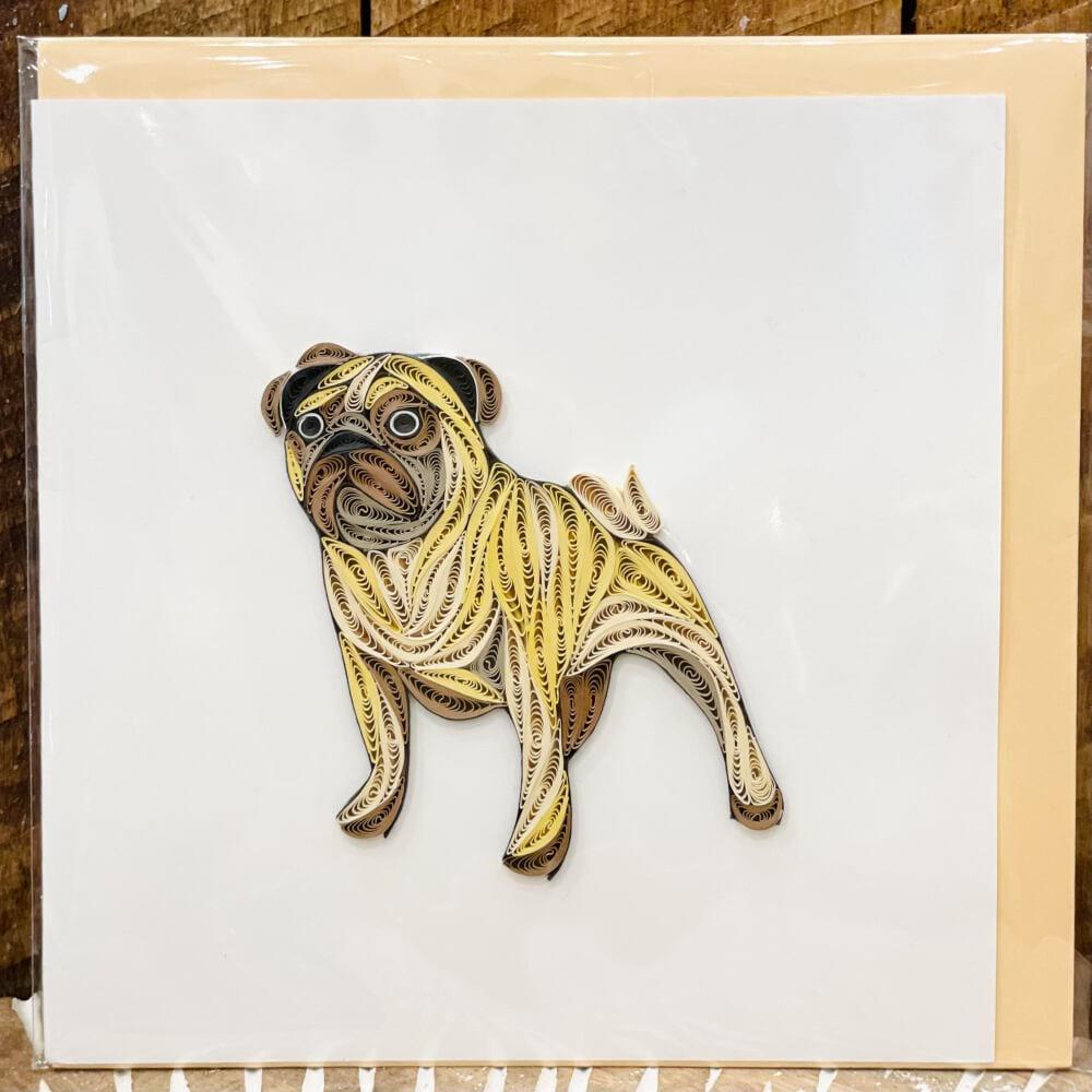 Handmade quilling card - Bulldog