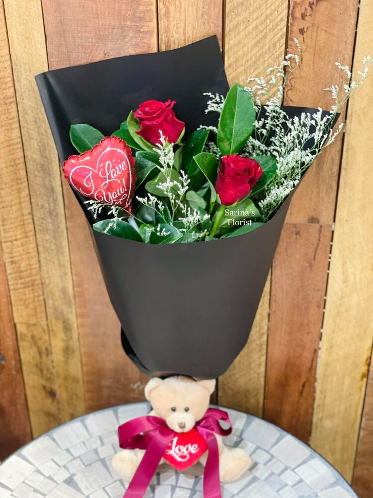 2 stems red rose posy