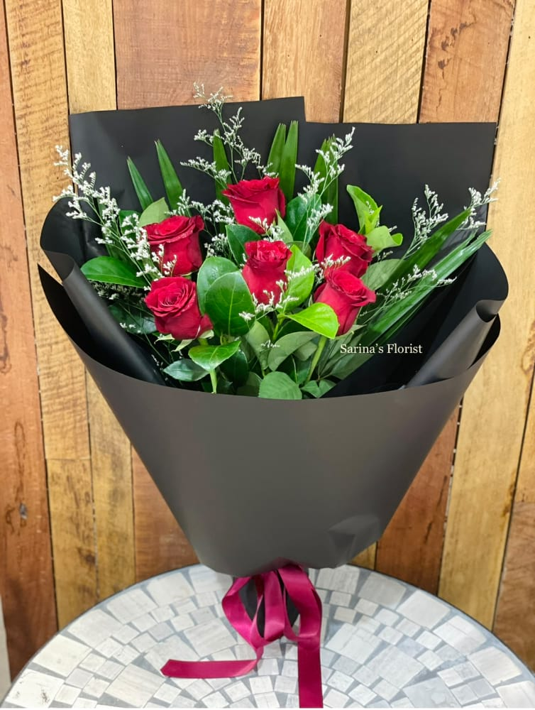 6 stems red rose bouquet