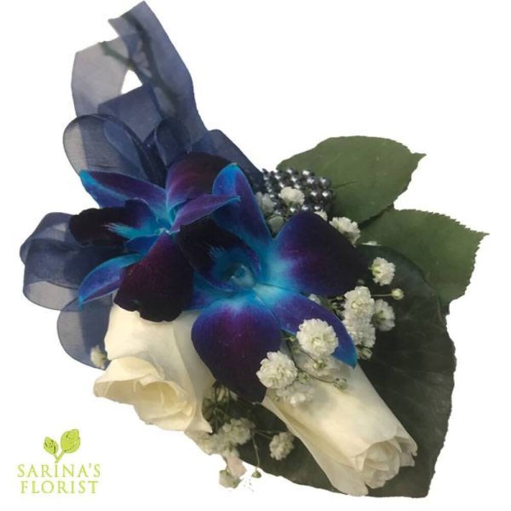 Wrist corsage - Blue orchids with white Roses