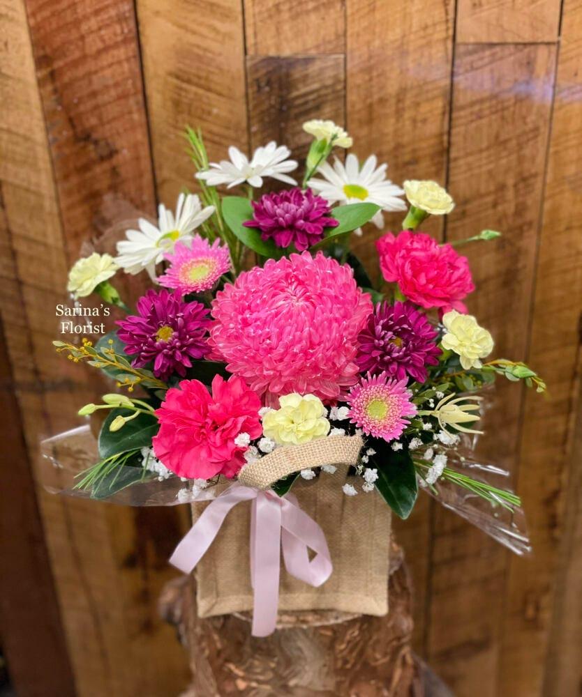 Florist choice flower hessian bag