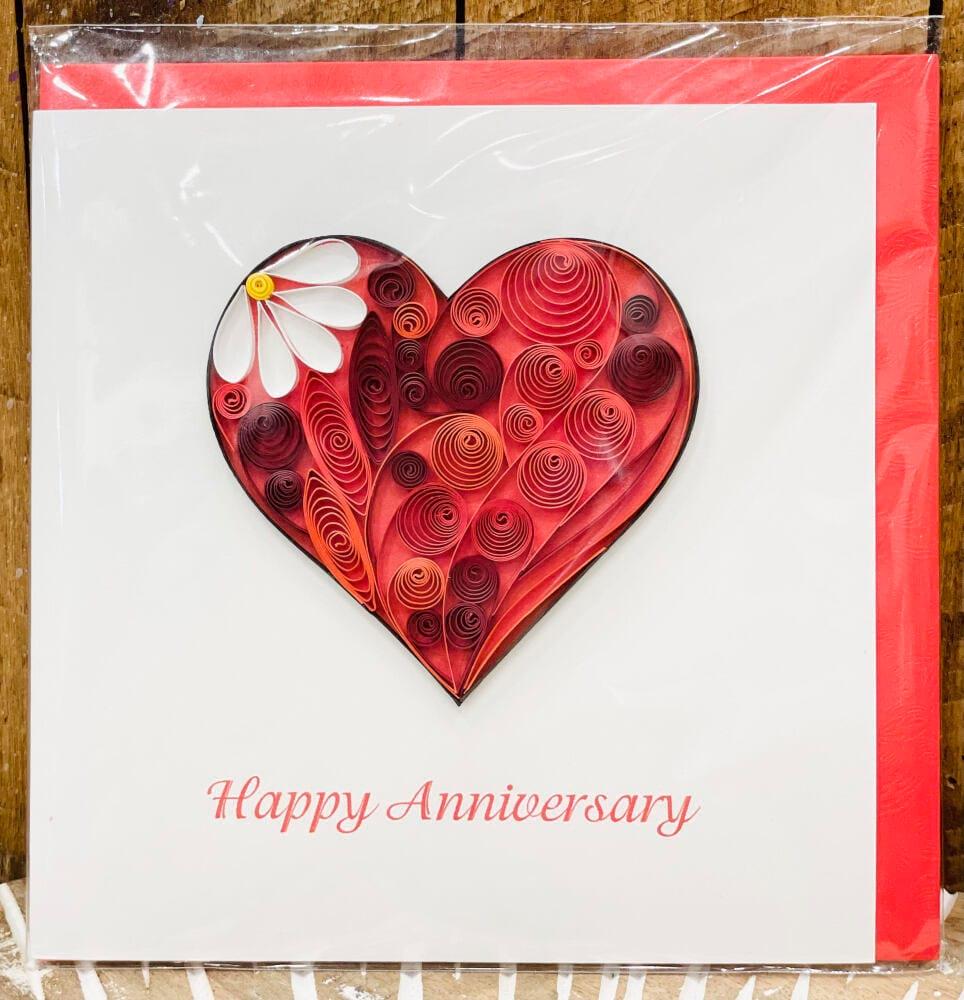 Handmade quilling card - Happy Anniversary