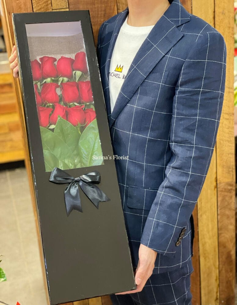 12 stems of red roses box