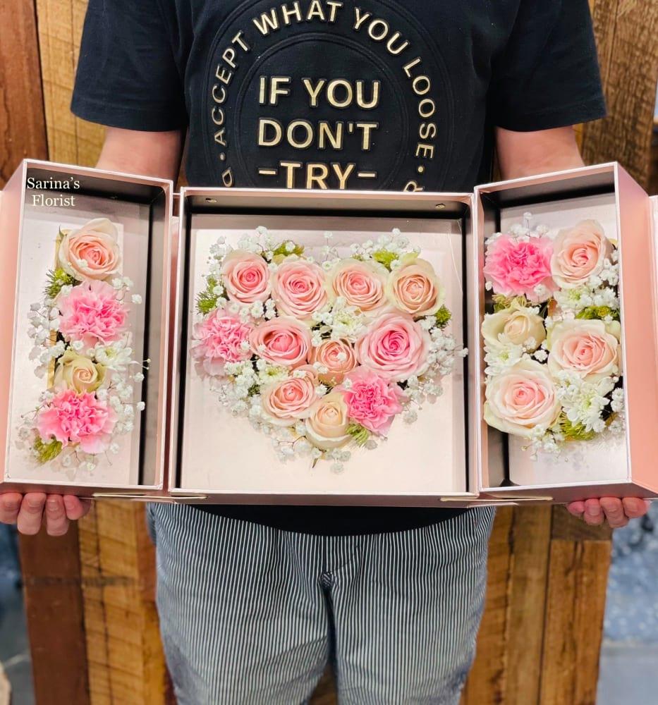 Foldable I LOVE U pink rose box