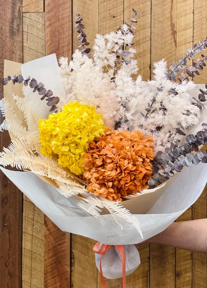 Golden tone dry flower bouquet