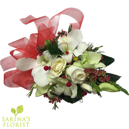 Wrist corsage - white with touch red