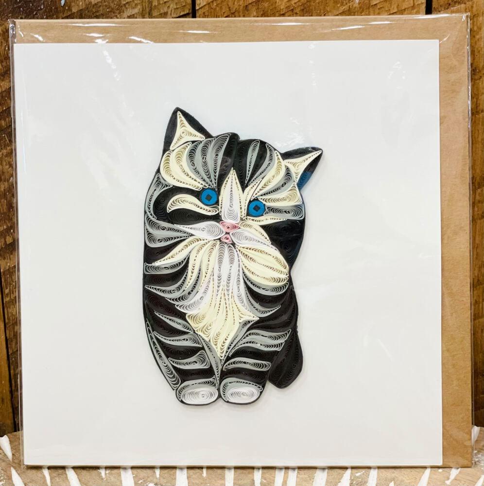 Handmade quilling card - Cat