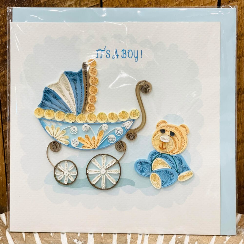 Handmade quilling card - It`s a boy