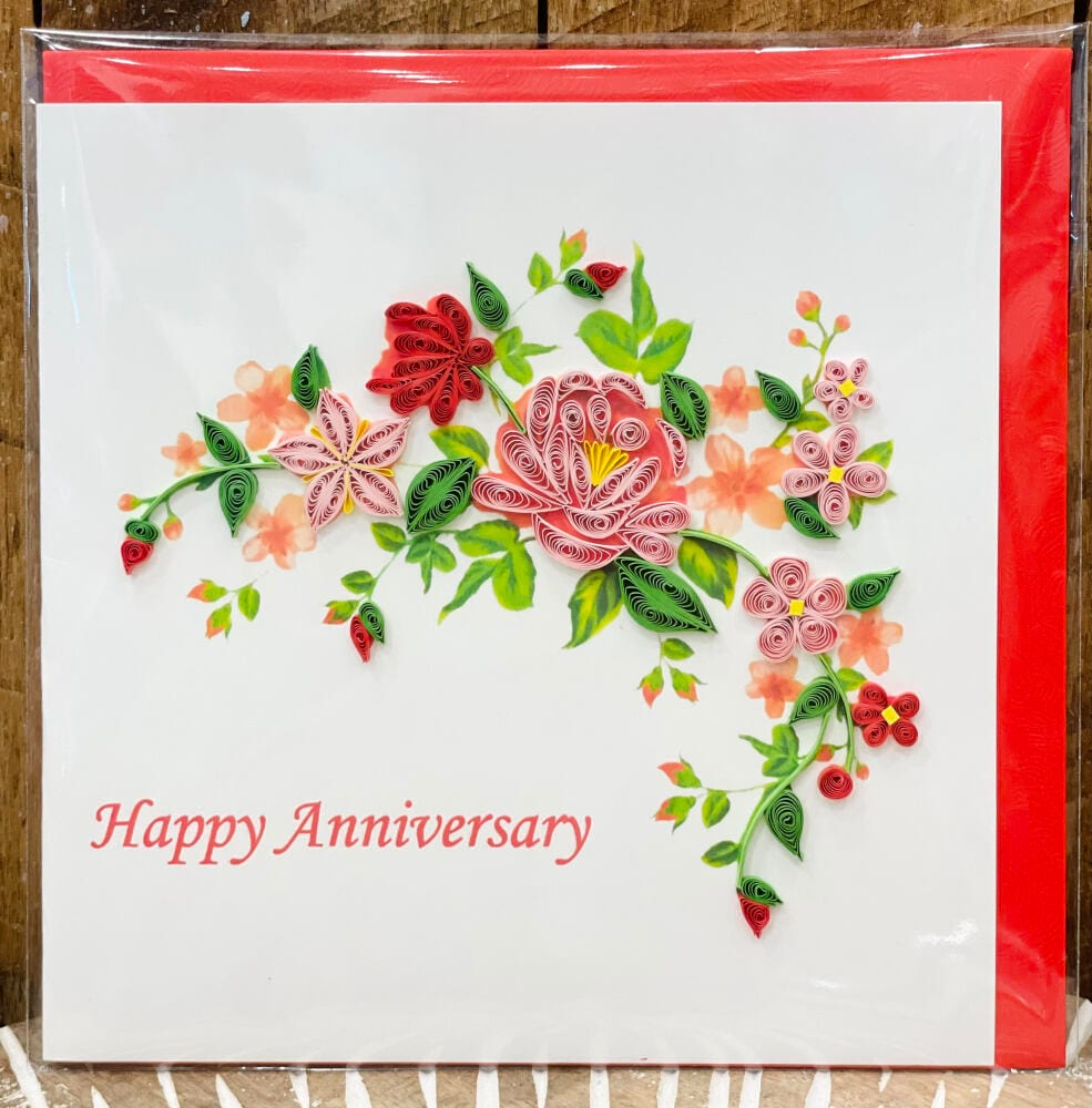 Handmade quilling card - Happy anniversary flowers