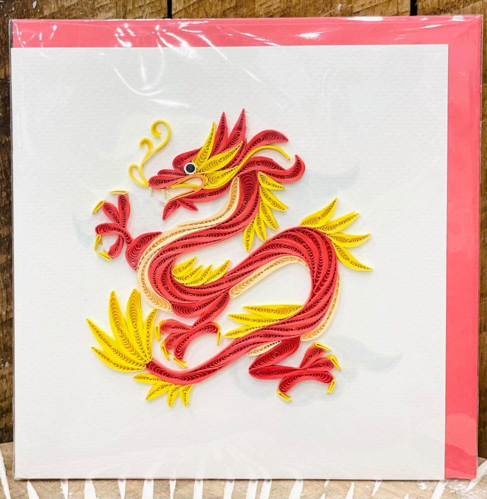 Handmade quilling card - Dragon