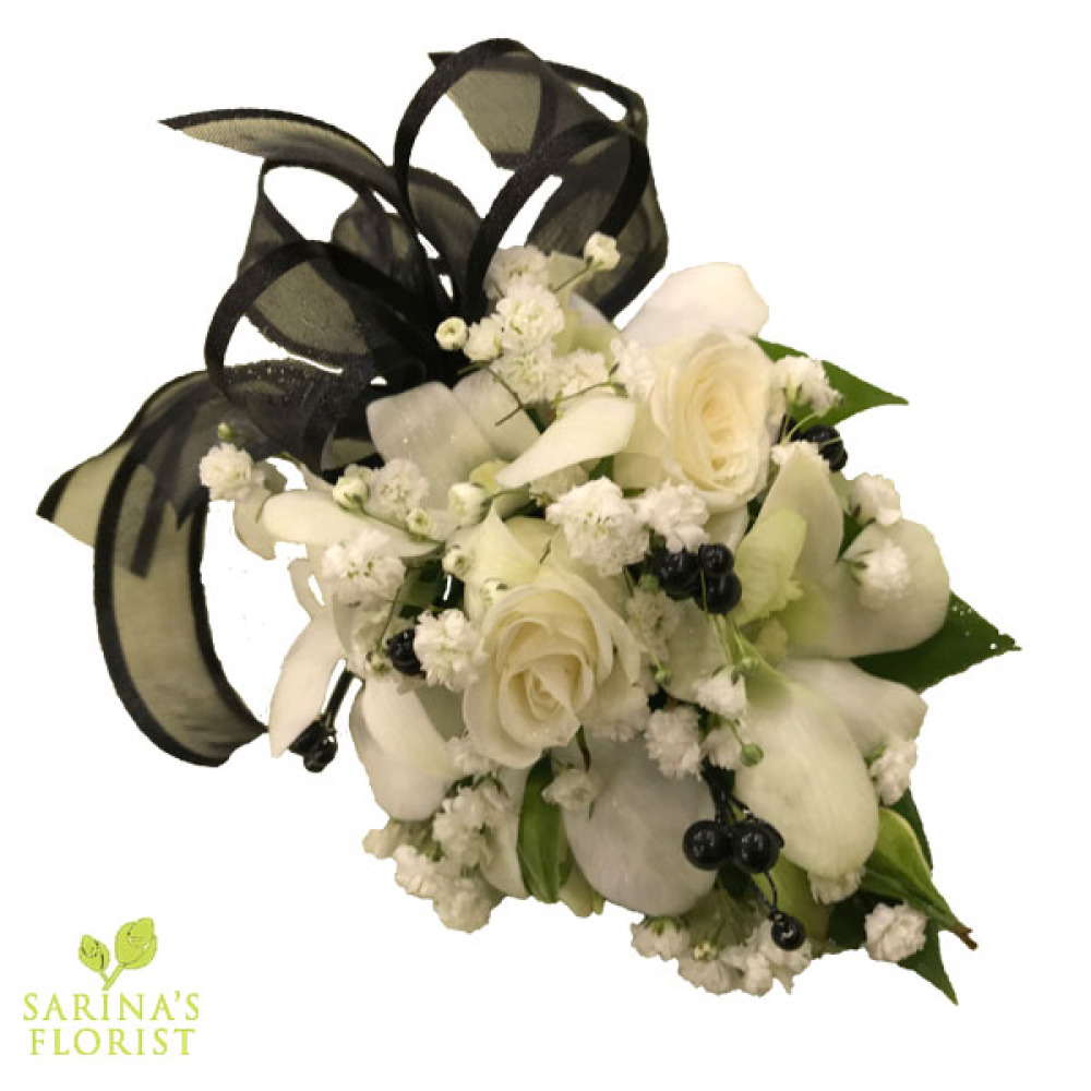 Wrist Corsage - White mini rose white orchids with black ribbon