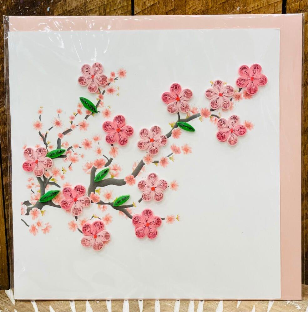 Handmade quilling card - Cherry blossom