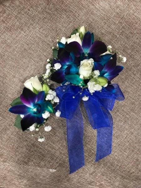 Wrist corsage and buttonhole in blue & white