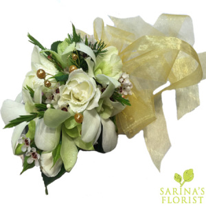 Wrist corsage - white with gold