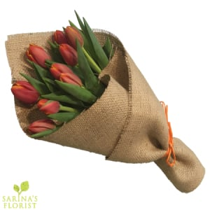 Wrapped Tulips - Orange