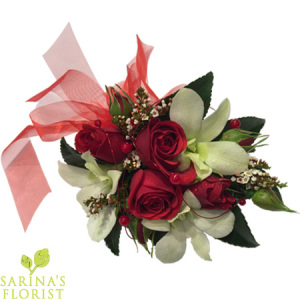 Wrist Corsage - Red mini rose with white orchids