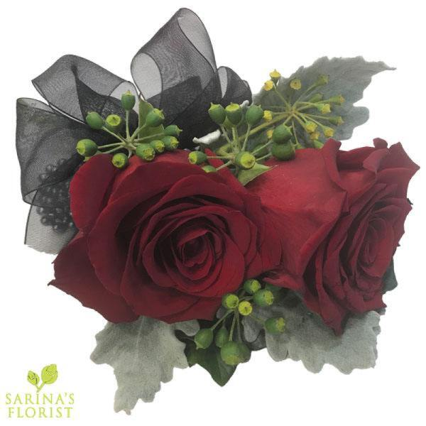Wrist corsage - Red Roses with Black Ribbon