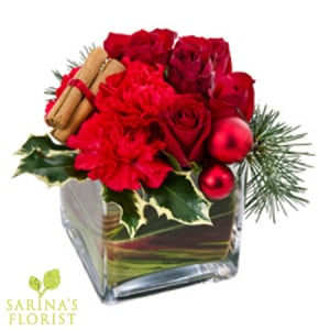 Modern Festive Arrangement in a Glass Cube