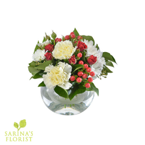 Christmas Cheer -  Bouquet in a Fishbowl Vase