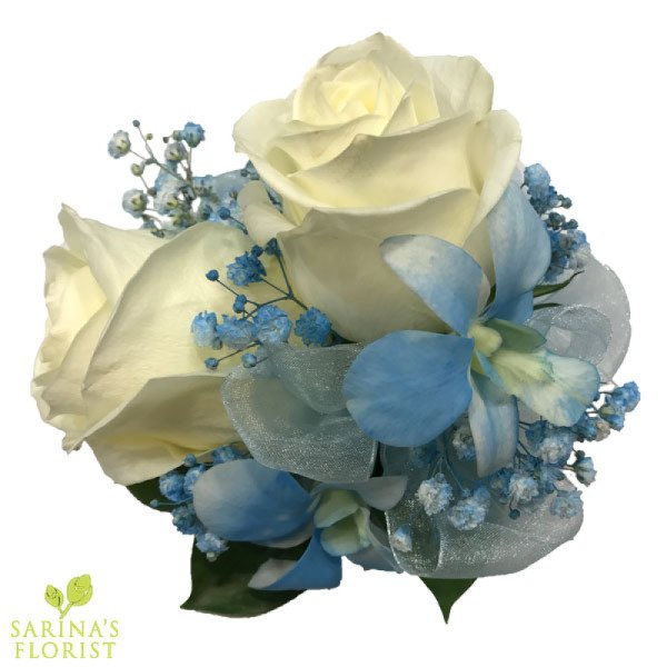Wrist corsage - white roses with baby blue orchids