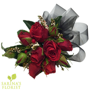 Wrist Corsage - Red mini rose with black ribbon