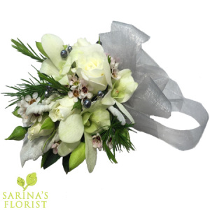 Wrist corsage - white with silver